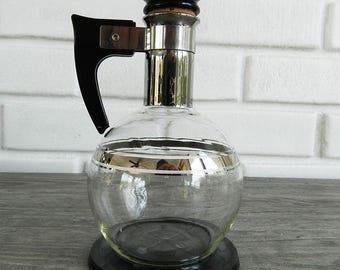 Vintage Glass Carafe, Vintage Coffee Carafe, Mid Century Coffee Carafe, MidCentury Pitcher, Vintage 2 Cup Pitcher