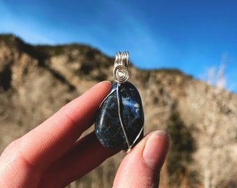 Sodalite Wire Wrapped Pendandt