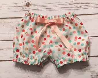 Multi colored polka dot  bloomers/bubble shorts .. Made to order.. Girls, infants, Toddlers