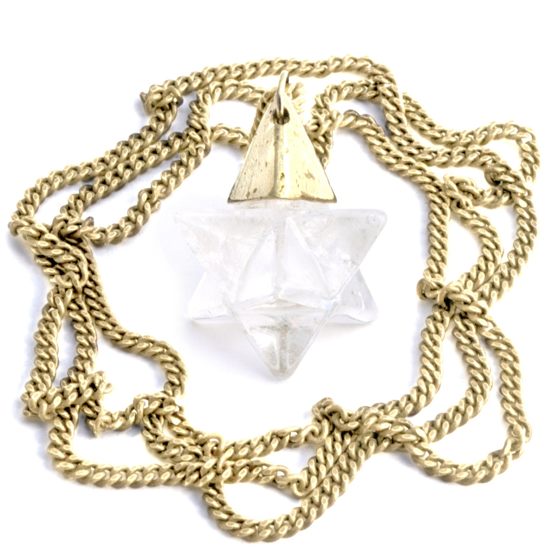 ascension 174 clear quartz gold merkaba necklace