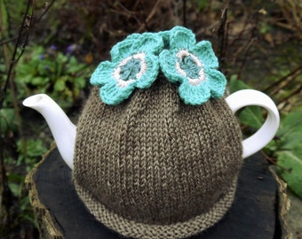 Turquoise Flower Tea Cosy, Teacosy, Teacozy, Tea Cozy