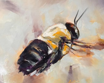bee happy // bee painting // bee art // honey bee // insect art // bee // bee design