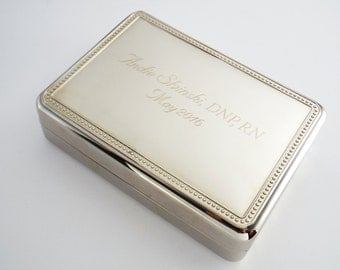 Personalized Jewelry Box, Silver Plated Jewelry Box, Valet Box, Wedding Gift, Storage, Mother's Day Gift