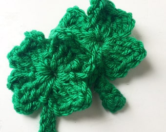 Crochet Shamrock Hair Clips | St. Patrick's Day shamrock hair clips, clover hair clips, St. Paddy's Day hair accessories, clover hair clips