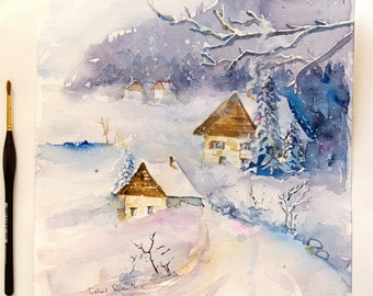 "Original painting of cottages under the snow, winter original watercolour, winter original painting, snowy cabins - 11"" x 11"""
