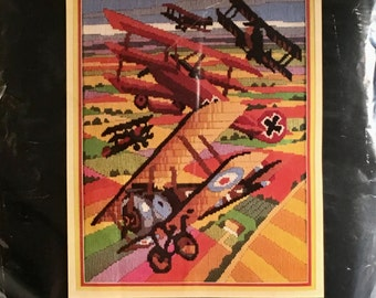 """Prism Designs Vintage Longstitch Biplane Embroidery """"The Airplanes"""" Persian Wool Crewel Embroidery Kit Red Baron"""