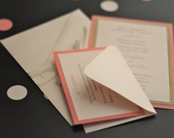 Coral Wedding Invites \ Personalized Invitations With Metallic Coral  Envelope + Coral RSVP Card \ Gold