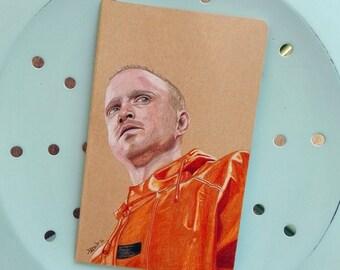 Original Hand painted Moleskine, Fan Art Illustration Jesse Pinkman, breaking Bad, Illustrated Cover Notebook, square pages, Pocket Journal