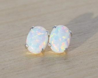 Opal Earrings, White Opal Earrings, Opal Stud Earrings, Sterling Silver Stud Earrings, Delicate Opal Earrings