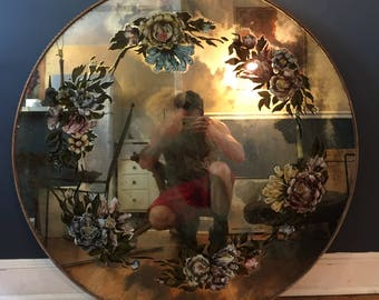 Vintage Flower Decorated Mirrored Wall Hanging or Table Top