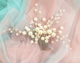 Bridal hair comb pearl hair comb wedding accessory bridal headpiece wedding headpiece decorative comb