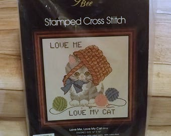 """Stamped Cross Stitch Kit, Love Me Love My Cat, Golden Bee Kit, Finished Size 14"""" x 14"""", Fabric, Floss, Needle, Instructions Included, Sealed"""