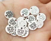 set of 20, Round Lotus Charm, Round Silver Charm, Lotus Flower, Flower Charm, Mala Charm, Mala Bracelet Charm, Jewelry Making Charm,