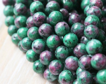 Ruby Zoisite, 8mm Beads, Green Beads, Round Beads, Round Beads, Smooth Beads, Colorful Beads,