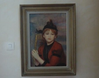 "Print on canvas 1961, by Amilcare Pizzi Milan, printed in Italy, Visual reproduction of A RENOIR ""The traveler"", wood framing"