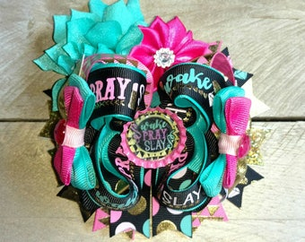 Wake pray slay bow, Barbie bow, pink bow, gold bow, glitter bow, twisted boutique bow, Ott bow,