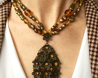 Honey Drop - Vintage Rhinestone and Filligree Drop Upcycled as Necklace