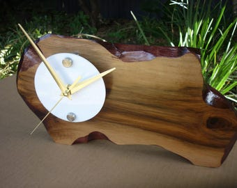 Tasmanian Sassafras Solid timber Rustic desk Clock hand made