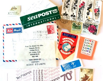 10 x pieces of Postal Ephemera - Old Letter - Air Mail Labels - Sea Mail - Postage Stamps - Vintage Glassine - Swift Air - Mail Art Journal