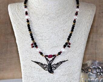 Onyx necklace, ruby necklace, black bird necklace, beaded necklace