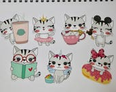"""KAWAII CAT Die Cuts  3"""" tall 