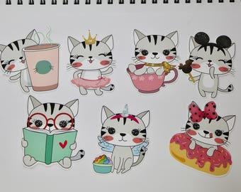 "KAWAII CAT Die Cuts  3"" tall 
