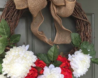 SALE! Spring grapevine floral wreath with red and white flowers, year round front door wreath, door wreath, spring wreath