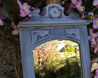 Stunning vintage 1940s wood carved mirror hand painted bespoke