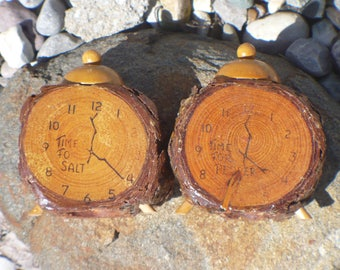 Vintage Salt and Pepper Shaker, Rustic Wood Alarm Clock, Wisconsin Dells Souvenir