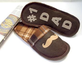 No. 1 Dad Slippers, Men Slippers, Mustache, Dad Gift, Felt Slippers, Fleece Slippers, Indoor House shoes, Men Shoes,
