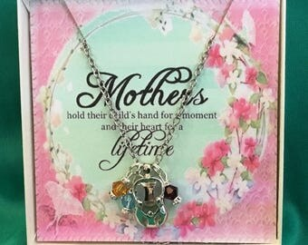 Mother with THREE children necklace, personalized Swarovski Birthstone Crystals. Mother's Day, Birthday, Grandmother Gift, Godmother Gift