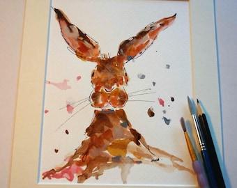 SALE Hare watercolour, hare art, hare home decor, hare lovers, nursery art, childrens bedroom art, original watercolour