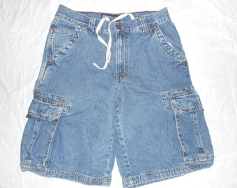 ON SALE Mens Aeropostale A87 denim Blue Jean Cargo shorts Size 29                             E44