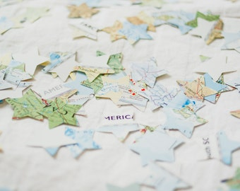 Adventure Confetti | Vintage Maps and Stars Confetti | Unique Travel Themed Party Decor