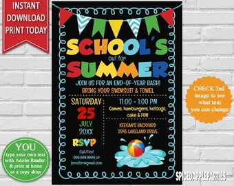 School's Out for Summer Invitation, Pool Party, Summer Party, Schools Out, Invitation, Pool Party Invite, Summer Pool Party, Chalkboard