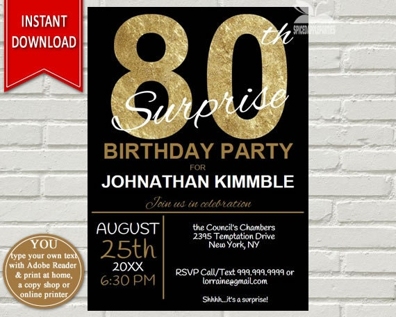 Mens 80th surprise birthday invitation 80th birthday invite il570xn filmwisefo