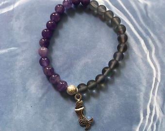Mermaid Mala Bracelet-Sea Blue Moonlight Crystal and Purple Jade