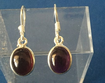 Garnet drop earrings sterling silver