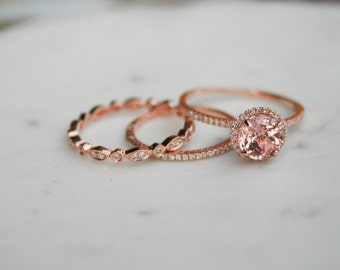 Halo Engagement Ring, Champagne Sapphire Halo Ring, Rose Gold Ring, Wedding Ring, Diamond Ring, Halo Diamond Ring