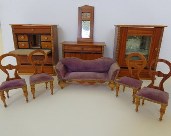 Antique Dollhouse Furniture 19th Century Table Chairs Sofa Secretary Semi  Cabinet Mirror For Antique Dollhouse