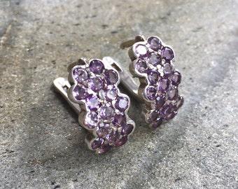 Amethyst Earrings, Natural Amethyst, February Birthstone, Vintage Earrings, February Earrings, 6 Carats, Victorian Earrings, Solid Silver