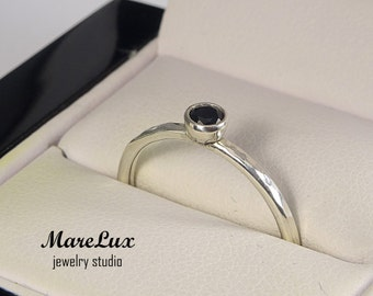 Hammered 3 mm Black Diamond Silver Ring, Black Cubic Zirconia Stackable Ring, CZ Sterling Silver Handmade Black Diamond Ring Engagement Ring