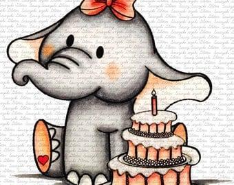 Baby Elly's Birthday Digital Stamp by Sasayaki Glitter