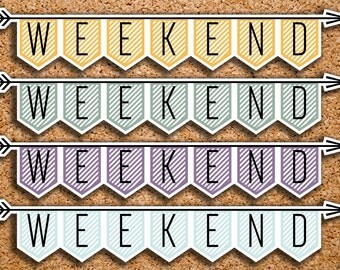 9 BOUND CLASSIC Striped Weekend Banner Stickers for 2017 Inkwell Press IWP-H20
