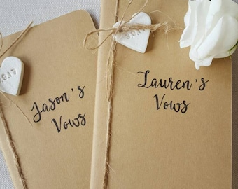 Set of 2 Wedding Vows Notebooks ~ Personalized Vow Books ~ Vow Books ~ His & Her Vow Books ~ Vows ~ Lined Pages