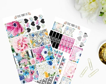 Floral Chic Planner Sticker Kit for use with, Erin Condren, Life Planner, Mambi, Happy Planner, Recollections Planner, Planner Stickers