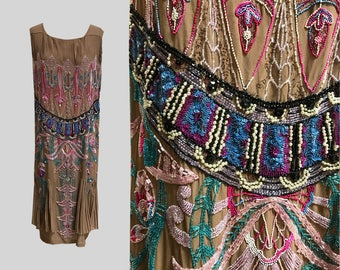 1920s Multi Color Beaded Chiffon Flapper Dress