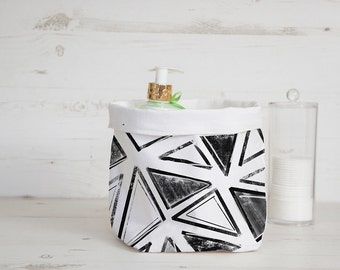 Storage bin, fabric basket with abstract triangles, nursery organizer