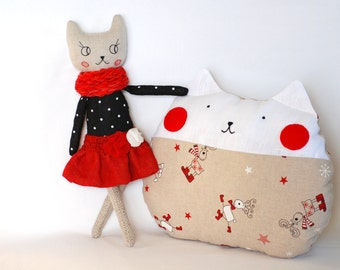 Christmas Cat Cushion / Pillow with Christmas deer / Cat Decorative Pillow / Kids room pillow /Christmas Nursery Decor / Nautical decor