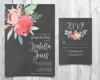 Bachelorette Invite, Hen's Night, Peony Invitation, Rustic RSVP Card, Boho Chic Invite, Calligraphy Invite, Printable Invitation,